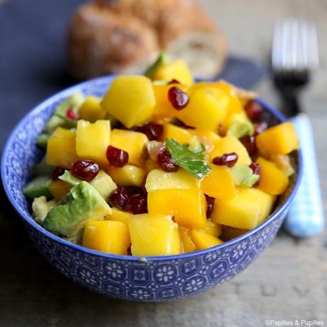 Salade avocat, mangue, grenade et citron confit