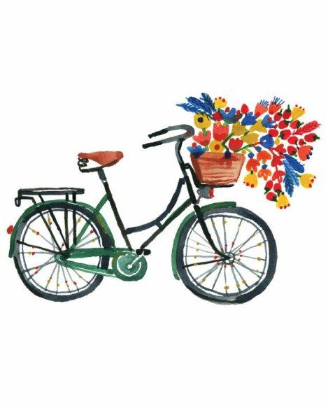 Tableau vélo fleuri